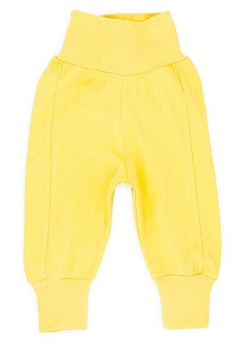 MAKOMA Baby Jungen und Mädchen Hose ohne Fuß Krabbelhose (68- 92) (92, Gelb)