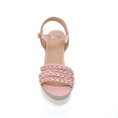 LvYuan Sandali-Formale Casual Serata e festa-Alla schiava-Zeppa-Finta pelle-Verde Rosa Bianco Pink