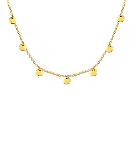 LUAMAYA Damen Boho Halskette | Verschiedene Edelstahl Ketten in Gold, Silber und Roségold | Globus, Coins, Plättchen, Layer, Weltkugel, Coins (Bea Gold)