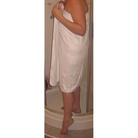 Bamboo-Asciugamano di lusso per doccia/vasca da bagno avvolgente, con chiusura