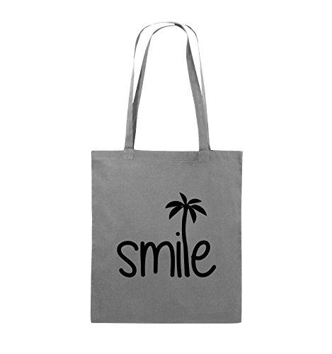 Borse Comiche - Smile - Palm - Borsa In Juta - Manico Lungo - 38x42cm - Colore: Nero / Argento Scuro Grigio / Nero