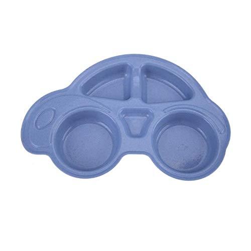 Queta Babyteller BPA frei Kinderteller Auto Geschirr Menüteller mit 4 Fächern Kindergeschirr Teller für Kinder, Jungen, Mädchen blau