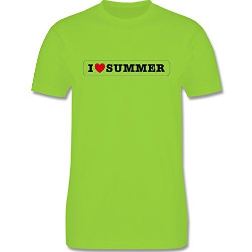 I love - I love summer - Herren Premium T-Shirt Hellgrün