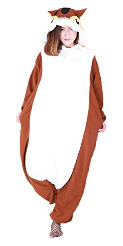 iPerry Eichhörnchen Tier Kostüm Damen Herren Krähe Pyjama Jumpsuit Nachtwäsche Halloween Karneval Fasching Cosplay Kleidung