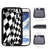 Noir And blanc Checkered Racing Flag Rubber Silicone TPU Cell Phone Cas Coque Samsung Galaxy Note 2 II N7100 X3J5LG
