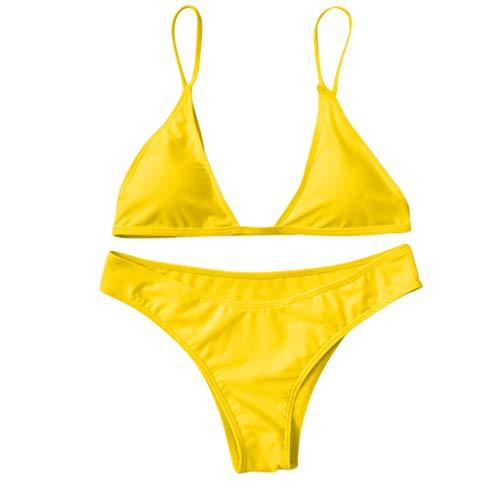 Damen Brazilian Push Up Bikini Set Mit Bikini Strap Rückenfreie Triangle Oberteil Und Sexy Brasil Bikinihose Bottom Geteilter Zweiteiliger Badeanzug Strandkleidung viele Farben und Größen TWBB -