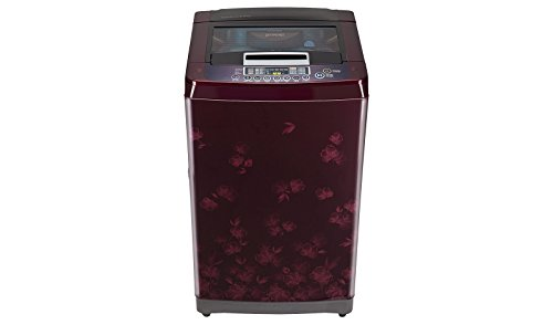 LG 6.5 kg Fully-Automatic Top Loading Washing Machine (T7567TEDLX, New Red Pattern and Wine Black Top)