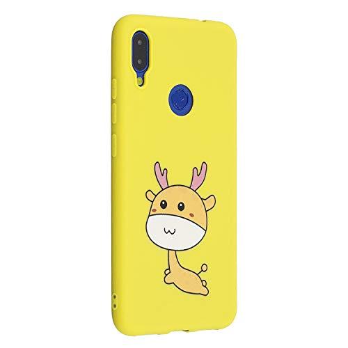 Miagon für Xiaomi Redmi Note 7 Hülle,Ultra Dünn Kratzfest Weiche Silikon Stoßfest Flexibel Prägen TPU Rückschale Handyhülle Schutzhülle Case,Karikatur Hirsch