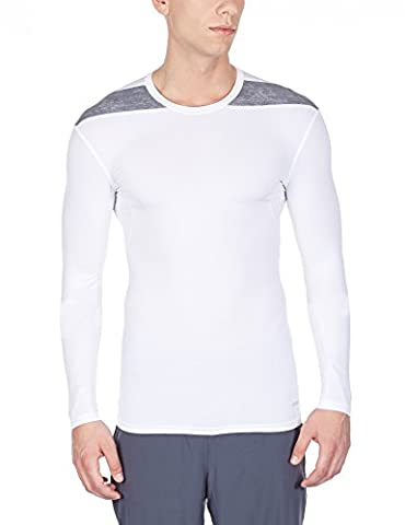 adidas Techfit Base T-Shirt manches longues Homme White/Medium Grey Heather FR : XL (Taille Fabricant : XL)