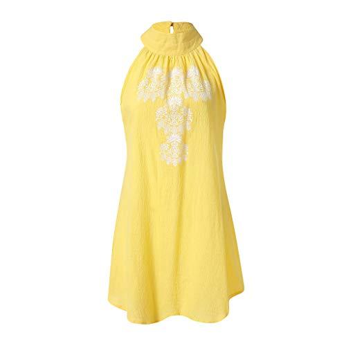 KIMODO Womens Dress Holiday Casual Irregular Ladies Summer Beach Sundress Sleeveless Halter Neck Floral Print Party ()