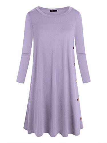 Anna Smith Rundhals-Oberteile für Damen, Damen 3 4-Hülsen-Bluse Button A-Linie Lange Länge T-Shirt Buttoms Patchwork Niedlich Stretch Cosy Dressy Mutterschaft Tunika Light Purple L (Mutterschaft Shirt Scoop Neck)