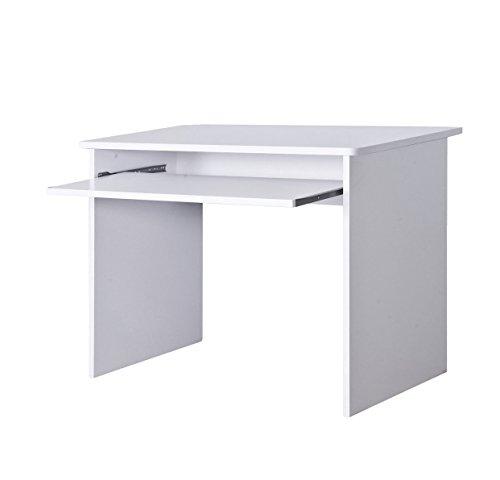 Lyndan–Onalaska weiß kompakte Computer Tisch Schreibtisch für Home und Office Möbel Studie tragbar Workstation für PC Desktop und Laptop mit Schiebetür Tastatur Regal und offenen Platz für Tower, Drucker und Dokumente