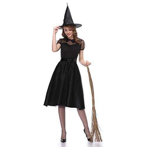 LDSSP Halloween Schwarz Garn Hexe Kostüm Anzug Frauen Temperament Nachtclub Ghost Dress Game Kostüme Für Rave Party Bühne Röcke XL (Rave Kostüm Billig)