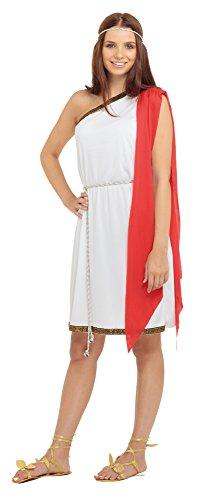 Bristol Novelty AC388 Toga Kostüm für Damen, Weiß, UK - Toga Für Erwachsene Damen Kostüm