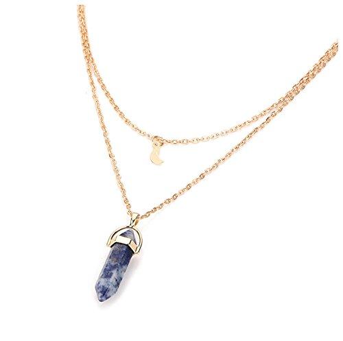 Bishiling Sexy Schmuck Kette mit Anhänger Damen Dunkelblau Kristall Mond Gold (Halskette Kostüm Gold Medallion)