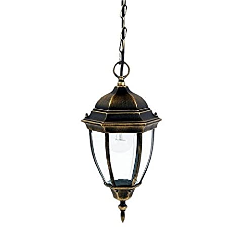 Large Traditional Hanging Outdoor Lantern Antique Gold IP44 rated 2/4/808