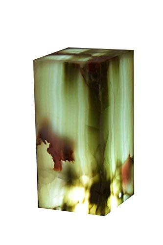 """Lámpara de mesa/buró 30cmx15cm artesanal en piedra mármol de ónix mexicano""""Verde Dunas"""""""