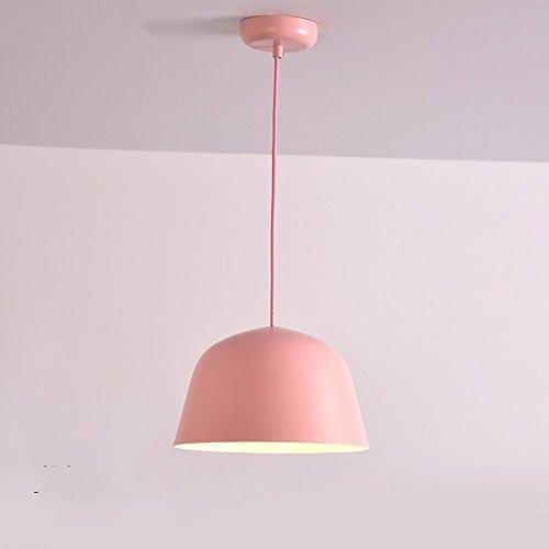 Aike lampadario seeksung metal e27 singola testa, luci ristorante moderno, lampadari da camera minimalisti in vari colori 1 pz [classe energetica a +] , pink