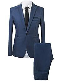 a098701b017 Eachbid Men s One Button 2-Piece Suit Slim Fit Business Wedding Party  Blazer+Pants