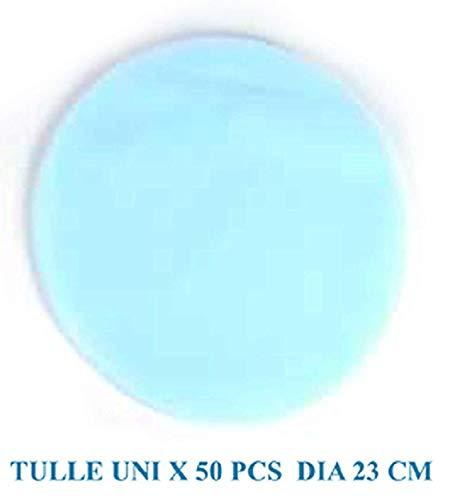 Idea bomboniere: confezione con 50 tulle velo azzurro celeste- portaconfetti - velo per confetti