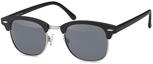 Vintage Sonnenbrille im 60er Style mit trendigen bronzefarbenden Metallbügeln Panto - Retro Brille (schwarz-silber-Rahmen)