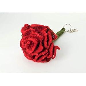 Schlüsselanhänger Rose gefilzt - Filzblume - Filzblüte zum Muttertag