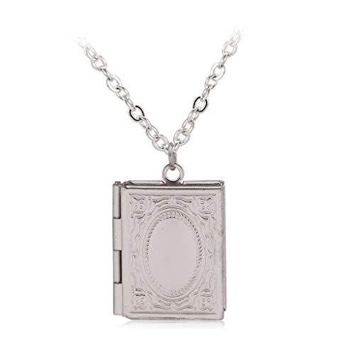 zrshygs Islam Medaillon DIY Foto Box Halskette Quran Buch Form Anhänger Muslim Schmuck Geschenk (Quran Halskette)