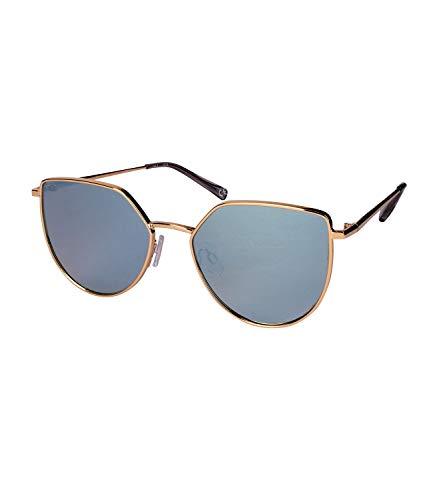 SIX Damen Sonnenbrille, Eckige Form, Abgerundet, Verspiegelt, Metallgestell, graue Bügel, gold,...