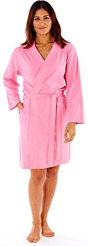 Damen Jersey Baumwolle Sommer Kimono Bademantel Band creme Bademantel Light Pink Lila Cherry Rot Floral Gr. 810121416182022 Gr. Medium, Light Pink - Plain Jersey (Creme Kimono)