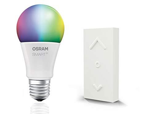 OSRAM Smart+ RGB LED mit Fernbedienung, ZigBee LED Lampe E27 mit Schalter, warmweiß bis tageslicht, dimmbar, Direkt kompatibel mit Echo Plus und Echo Show (2. Gen.), Kompatibel mit Philips Hue Bridge
