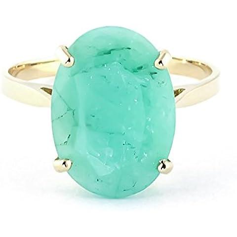 QP Jewellers naturale-Anello da donna in oro 9 carati con smeraldo in taglio ovale, 6,50ct 4196Y