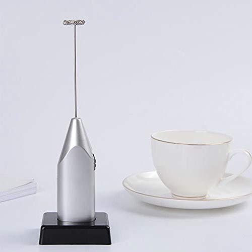 Montalatte elettrico, palmare frusta con base manuale agitatore mixer Egg Beater schiuma caffettiera per cappuccino, latte macchiato, moka, cioccolata calda e milkshake Taglia libera Silvery