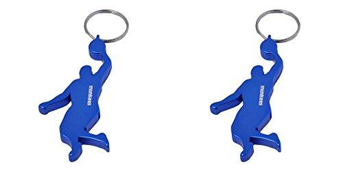 munkees 2 x Schlüsselanhänger Basketballer mit Flaschenöffner aus Hochwertigem Aluminium, Schlüsselring, Doppelpack Blau, 34916