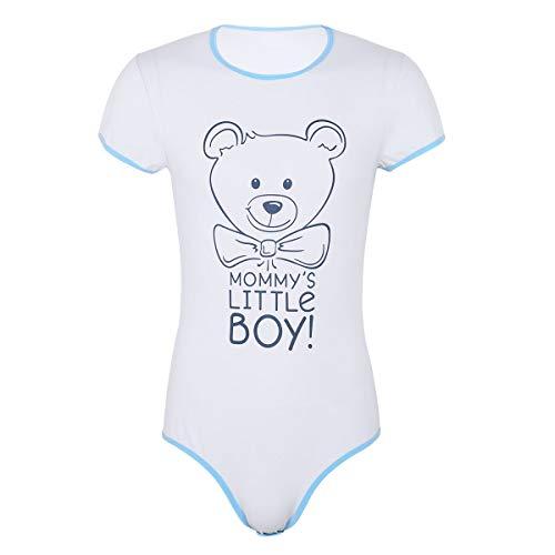 dPois Herren Baby Erwachsene Strampler Einteiler Body mit Bär Muster Männer Kurzarm Body Romper Bodysuit Pyjamas Nachthemd Nachtwäsche Herrenbody Blau Large