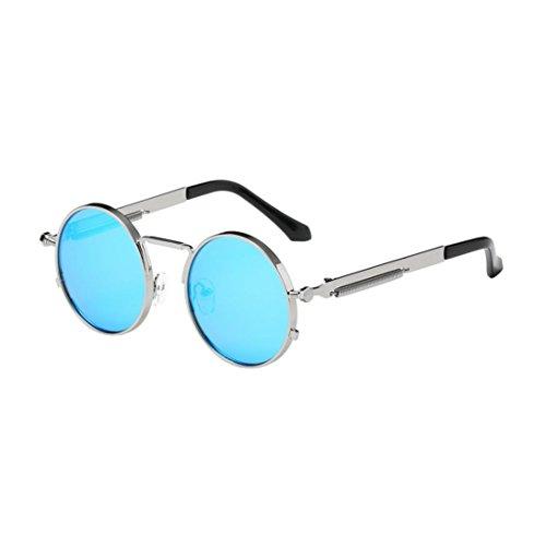 Solike Sonnenbrille Unisex Damen Herren Stylish Vintage Classic Metallrahmen Rund Nerd Brille...