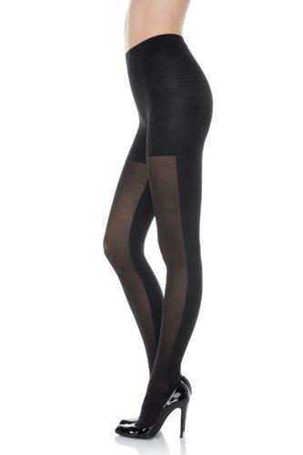 Spanx-nylon-strumpfhosen (Spanx Angepasste und gemusterte Doppelstrümpfe für Damen E Schwarz)