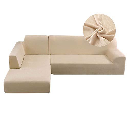 Copridivano con Penisola Elasticizzato Peluche Chaise Longue Sofa Cover Componibile Poliestere Forma di L