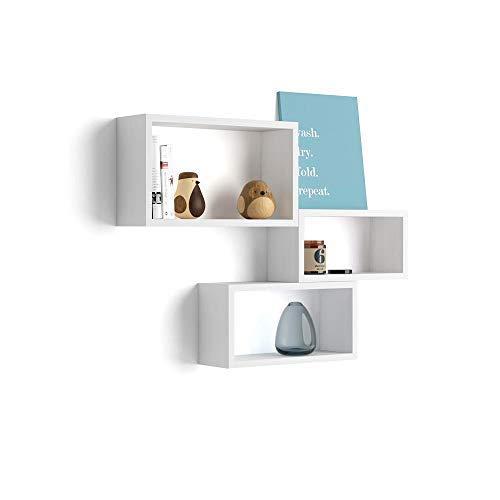 Mobili fiver, set di 3 cubi da parete, giuditta, bianco frassino, 27 x 14,5 x 45 cm, nobilitato, made in italy