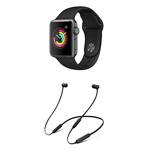 AppleWatch Series3 (GPS) con Cassa 38mm inAlluminio Grigio Siderale eCinturino Sport Nero + BeatsX Auricolari - Nero