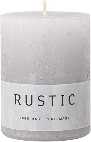 safe candle Rustic Kerze selbstverlöschend, 4 Stück, Höhe 8 cm/Ø 6 cm, 25 Std. Brenndauer (Silbergrau)