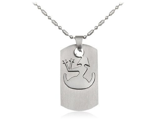BoyZ! Silver Virgo Stainless steel zodiac sign pendant necklace with chain for Men