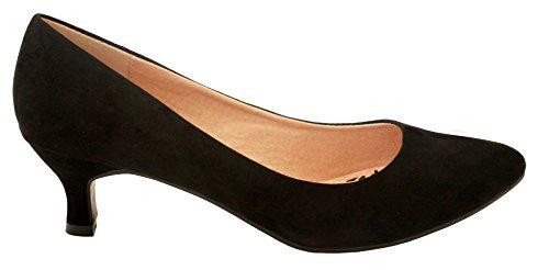 Comfort Plus  Texaswomens,  Mädchen Damen Pumps schwarze Velourslederoptik