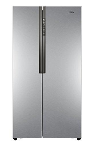 Haier HRF-521DS6 Side-by-Side / A+ / 179 cm Höhe / 435 kWh/Jahr / 341 L Kühlteil / 177 L Gefrierteil / No Frost / Tür Display / Silber [Energieklasse A+] (Tür Silber)