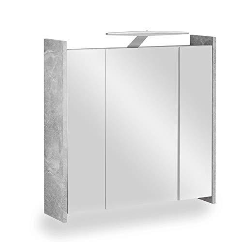 Galdem Elegance Spiegelschrank 70cm Badezimmerschrank Wandschrank Badmöbel 3 Spiegeltüren 6 Einlegeböden LED Beleuchtung mit Steckdose Beton Cement Weiß