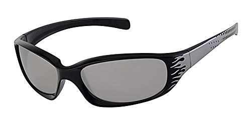 Kinder-Sonnenbrille mit schwarzem Rahmen, 5-9 Jahre, mit silberfarbenen verspiegelten Gläsern und gelbem Halsband