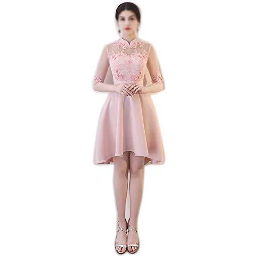 Gestickte Crochet Lace (Rocke Elegante Stickerei Lace Party Hochzeit Brautjungfer Kleid Womens (Farbe : Rosa, Size : S))