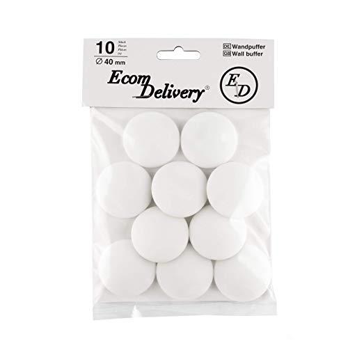 ecom delivery® ⭐⭐⭐⭐⭐ 10x 3M-Klebeband Türpuffer/Wandpuffer Bumper für Wandschutz Tür Stopper/Dämpfer für Türgriff, Selbstklebend, Weiß, Kunststoff