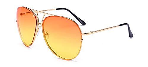 Sonnenbrille Federscharniere Übergröße Frauen Runde Sonnenbrille Mode Men Getönte Linse Gradient Gläser Orange Gelb