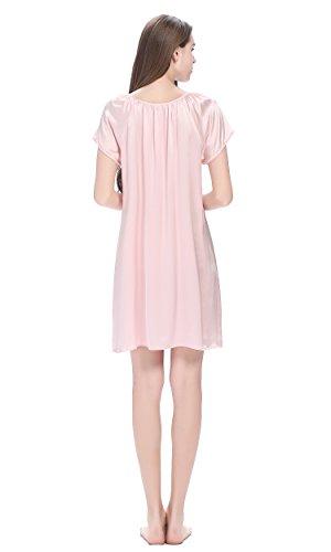LilySilk Camicia Da Notte Seta Da Donna Di 22 Momme Pura Seta Con Balza Rosa chiaro
