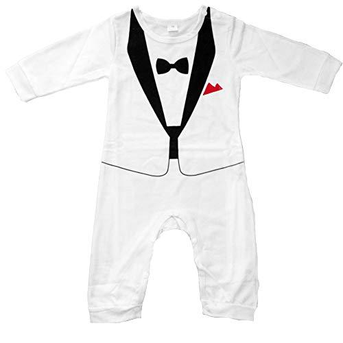 Lexikind Baby Strampler Smoking für Jungen - Anzug mit Fliege (Größe 90, 12-18 Monate, weiß) (Lustige 18 Monate Alte Kostüm)